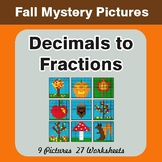 Fall: Decimals To Fractions - Color-By-Number Mystery Pictures