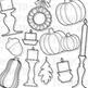 Fall Decorations Clip Art (Digital Use Ok!)
