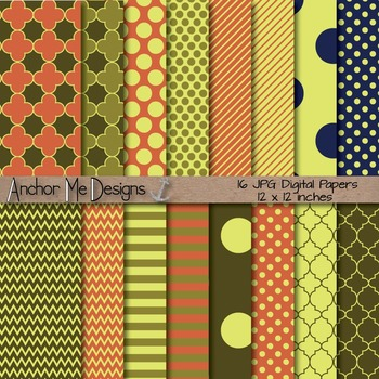 Fall Delight Quatrefoil, Chevron, Polka Dot & Striped Paper Pack