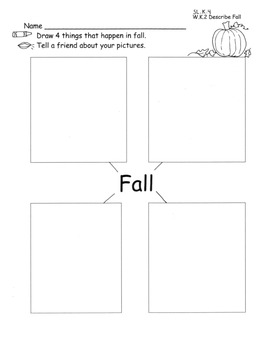 Fall Descriptive Writing Speaking Graphic Organizer Draw and Write with Plans