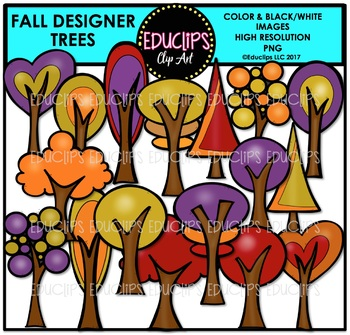 Fall Designer Trees Clip Art Bundle {Educlips Clipart}
