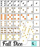 Fall Dice, Autumn Dice, 3D Dice, Foldable Dice, Dice Dots