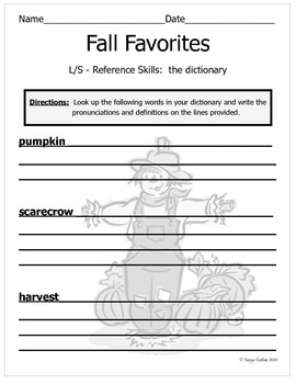Fall Dictionary Practice
