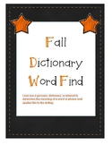 Fall Dictionary Word Find