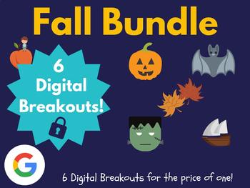 Fall Digital Breakout Bundle: (Columbus, Halloween, Bats, & More)