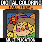 Fall Digital Math Coloring Multiplication Facts Practice -