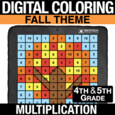 Fall Digital Math Mystery Picture Multi-Digit Multiplicati
