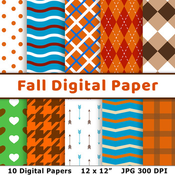 Fall Digital Paper, Autumn Scrapbook Paper, October Paper, Printable Background