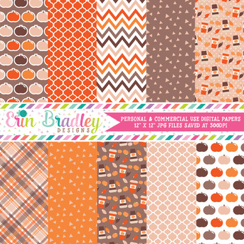 Fall Digital Paper Pack, Autumn Orange Pumpkins Digital Papers