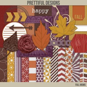 Fall Digital Paper with Bonus Clip Art Kit Commercial Use