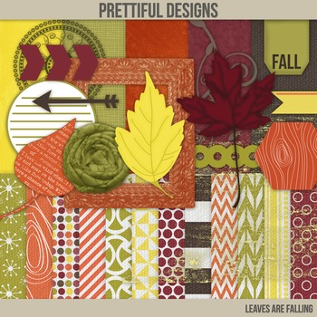 Fall Digital Paper with Bonus Clip Art Kit Commercial Use Leaves are Falling
