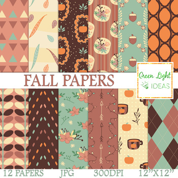 Fall Digital Papers / Autumn Backgrounds / Fall Papers Commercial Use