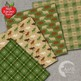 Fall Digital Papers, Rustic Cabin Paper, Green Plaid, Buffalo Plaid, AMB-1876