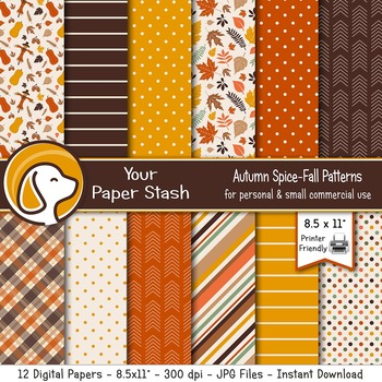 Fall Digital Scrapbook Papers and Backgrounds for Thanksgiving and Halloween