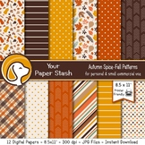 Fall Digital Scrapbook Papers and Backgrounds for Thanksgi