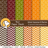 Fall Digital Scrapbook Papers with Scarecrow and Chevron Patterns