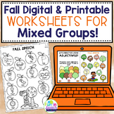 Fall Digital and Printable Speech Therapy Activities for M