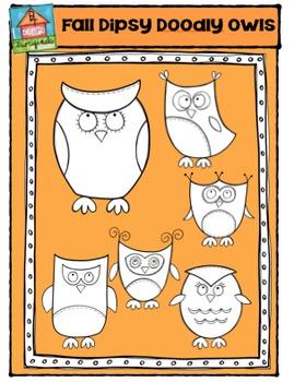 Fall Dipsy Doodly Owls {P4 Clips Trioriginals Digital Clip Art}