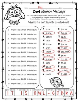 Fall Discount & Sale Price Math Puzzle - Owls!