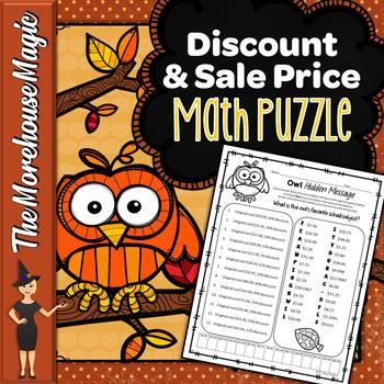 DISCOUNT & SALE PRICE MATH PUZZLE - OWLS!
