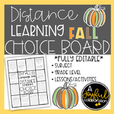 Distance Learning Choice Board for Fall