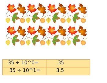 Fall Dividing Decimals Center