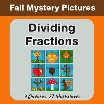 Fall Math: Dividing Fractions - Color-By-Number Math Mystery Pictures