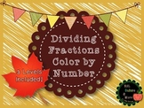 Fall Dividing Fractions Color by Number-DIFFERENTIATED