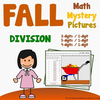 Fall Division Worksheets, Autumn Math Coloring Activity