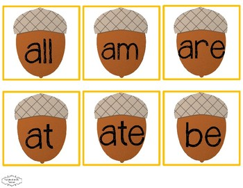 Fall Dolch Sight Word Flash Cards: Pre-Primer-3rd Grade