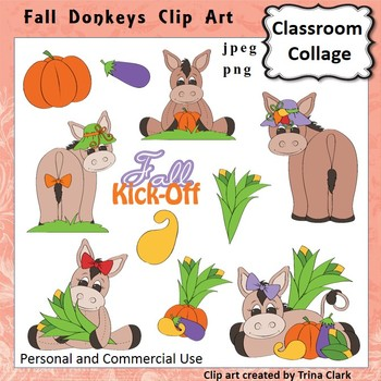 Fall Donkeys Clip Art - Color - personal & commercial use