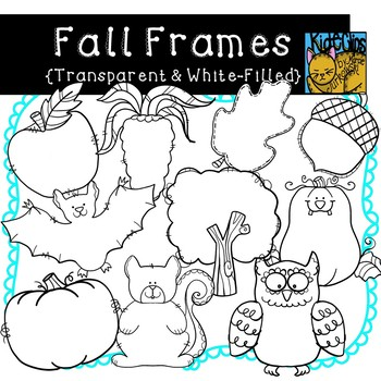 Fall Doodle Frames Transparent and White Filled by Kid-E-Clips | TpT