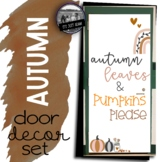 Fall Door Decoration Set Autumn Leaves and Pumpkins Please
