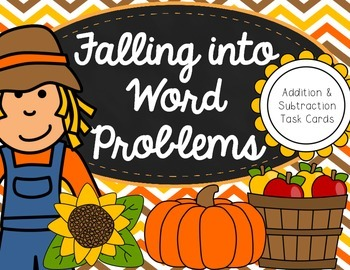 Fall Double-Digit Addition & Subtraction Word Problem Task Cards
