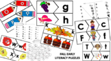 Fall Early Literacy Stations and Recording Sheets with Puzzle Piece Templates
