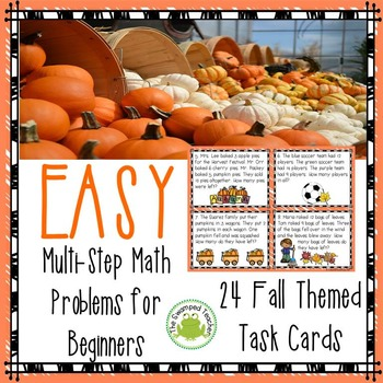 Two-Step Math Problems for Beginners - Fall Themed