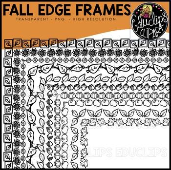 Fall Edge Frames Clip Art Set {Educlips Clipart}
