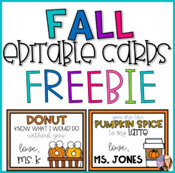 Fall Editable Cards- FREEBIE