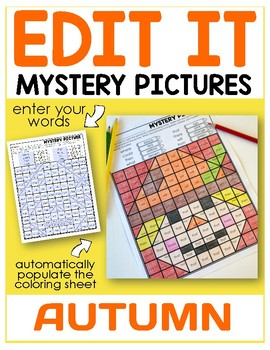 Fall Editable Color by Sight Word Mystery Pictures
