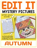 Editable Color by Code Sight Word Mystery Pictures - Autumn