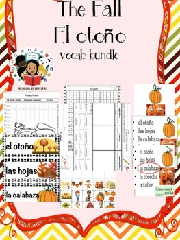 Fall/El Otoño- Vocab Bundle and Literacy Centers - Spanish