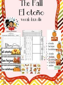 Fall/El Otoño- Vocab Bundle and Literacy Centers - Spanish
