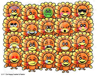 HTP Clip Art Fall Emojis BUNDLE Watercolor {The Happy Teacher's Palette}