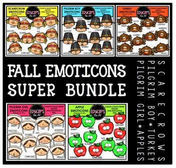 Fall Emoticons Clip Art Super Bundle  {Educlips Clipart}