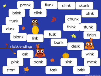 Ending Blends Games with lf, lt, lp, mp, nd, nk, sk, nt, and st