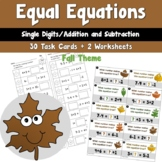 Fall Equal Equations using Single Digit Addition and Subtraction