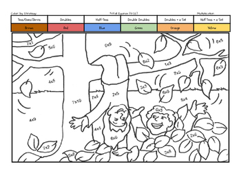 Fall Equinox Coloring Page by Multiplication Fact Strategy