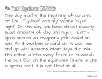 Fall Equinox Coloring Page by Quantity, Not Number!