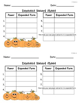 Fall Exponent Activity for Beginning and Advanced Learners