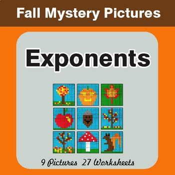 Fall Math : Exponents - Color-By-Number Math Mystery Pictures
